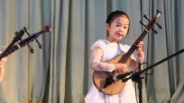 North Korean school show stringed instruments